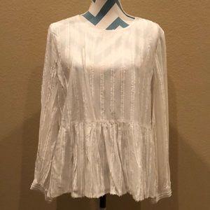 Brand new Loft peplum shirt with textured stripes!